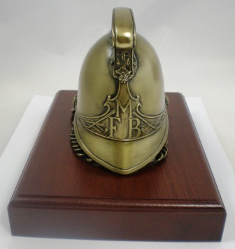 Victorian cold cast Brass Fire Helmet