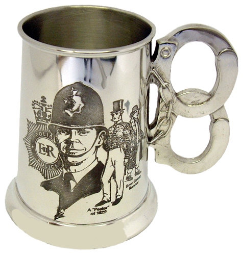 1 Pint Engraved Pewter Tankard with History of the Police