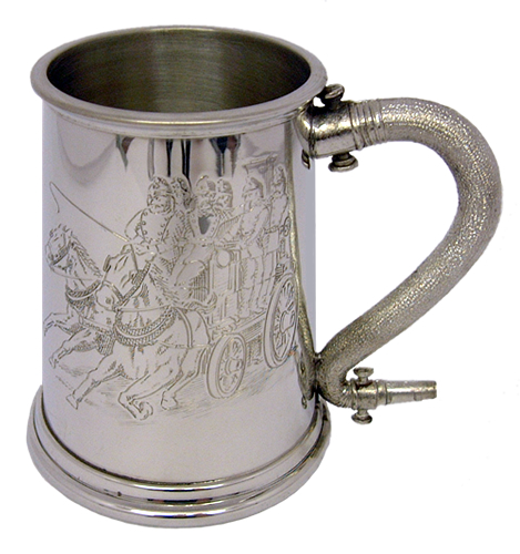 1 Pint Engraved Pewter Tankard with Horses Pulling Fire Steamer