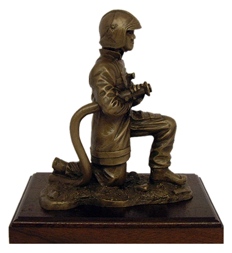 Fire Fighter on Branch Kneeling with Gallet Helmet